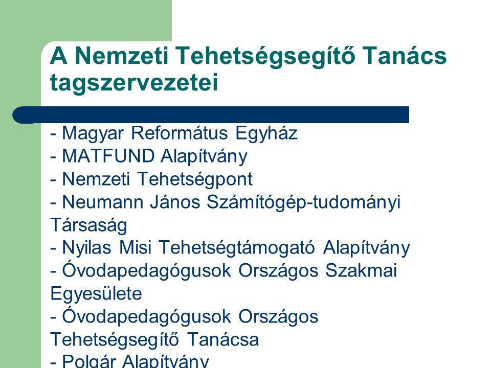 A Nemzeti Tehetségsegítő Tanács tagszervezetei - Magyar Református Egyház - MATFUND Alapítvány - Nemzeti Tehetségpont - Neumann János Számítógép-tudom