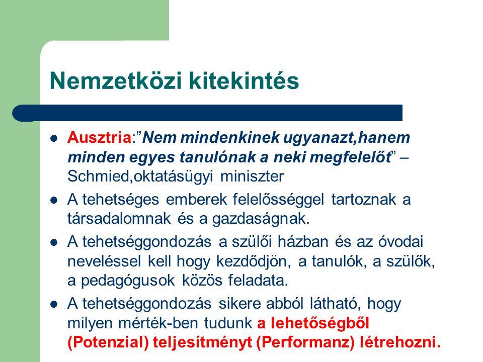 Nemzetközi kitekintés Ausztria: Nem mindenkinek ugyanazt,hanem minden egyes tanulónak a neki megfelelőt – Schmied,oktatásügyi miniszter A tehetséges emberek felelősséggel tartoznak a társadalomnak és a gazdaságnak.