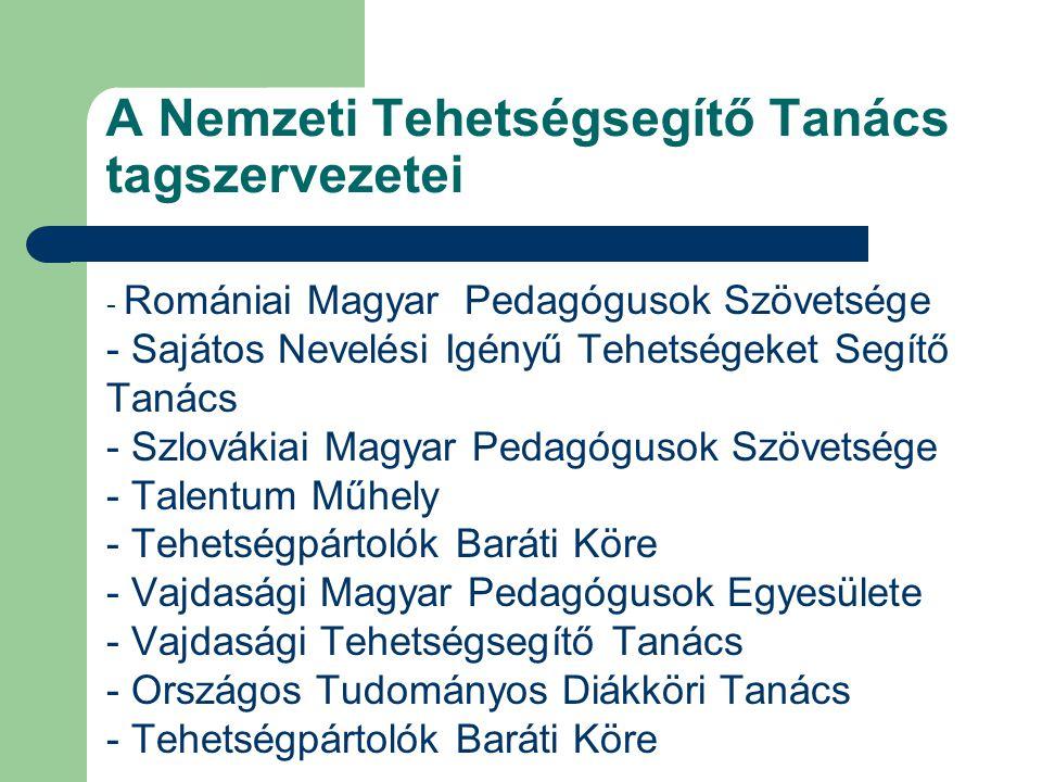 A Nemzeti Tehetségsegítő Tanács tagszervezetei - Romániai Magyar Pedagógusok Szövetsége - Sajátos Nevelési Igényű Tehetségeket Segítő Tanács - Szlovák