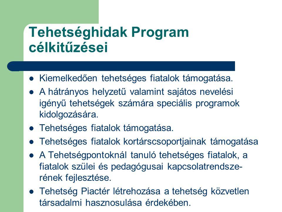 Tehetséghidak Program célkitűzései Kiemelkedően tehetséges fiatalok támogatása. A hátrányos helyzetű valamint sajátos nevelési igényű tehetségek számá