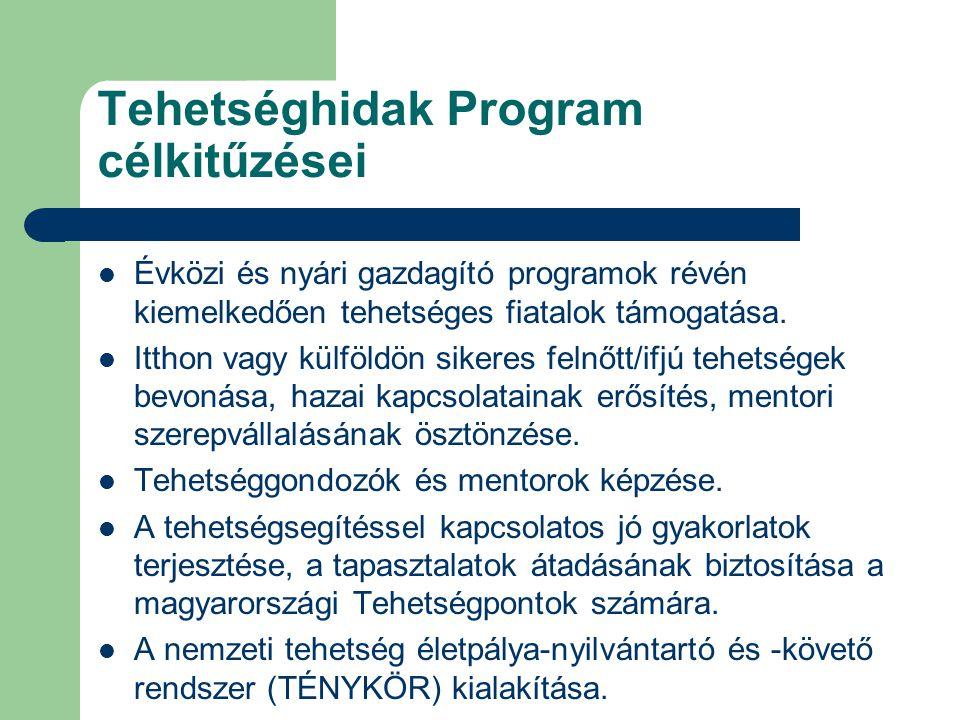 Tehetséghidak Program célkitűzései Évközi és nyári gazdagító programok révén kiemelkedően tehetséges fiatalok támogatása.