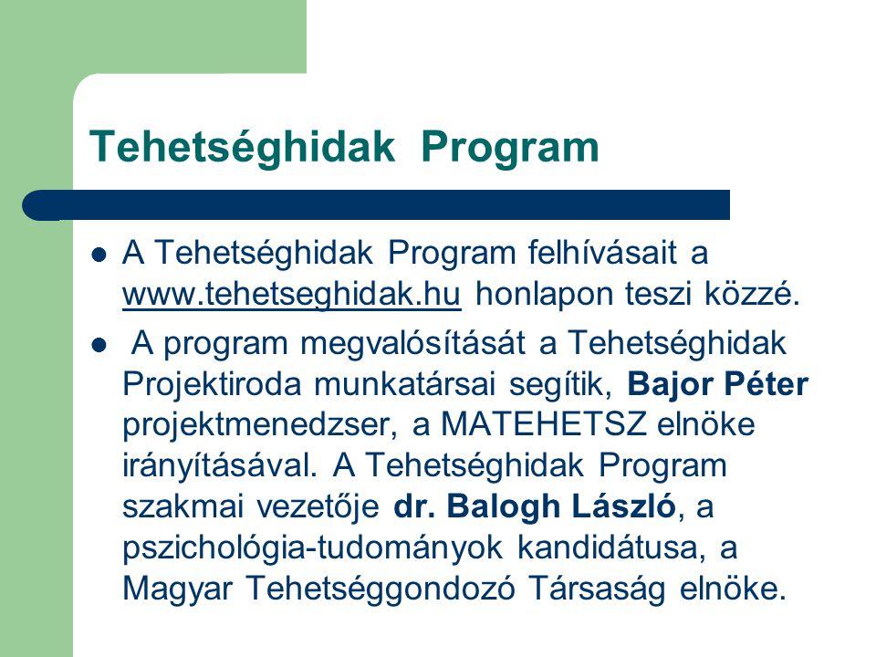 Tehetséghidak Program A Tehetséghidak Program felhívásait a www.tehetseghidak.hu honlapon teszi közzé. www.tehetseghidak.hu A program megvalósítását a