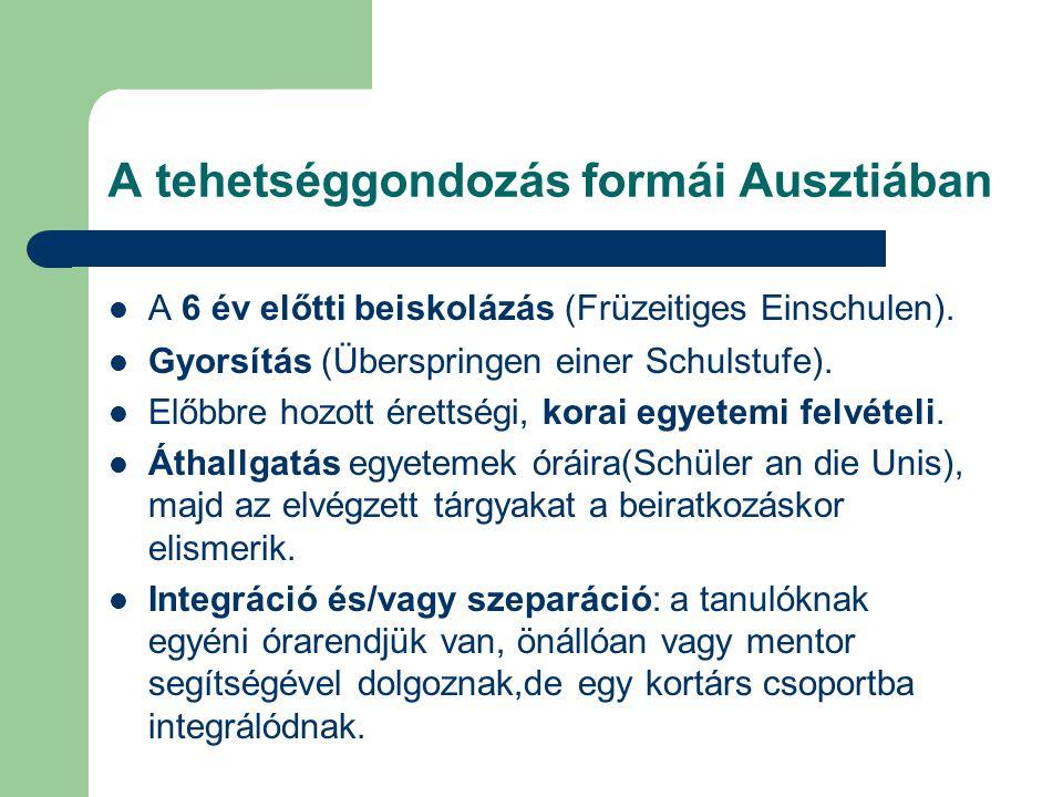 Nemzetközi kitekintés Németország A 90-es években erősödött az állami szerep- vállalás:a tehetség-azonosítás,-kiválasztás,– gondozás, és az iskolán kívüli formák egységes törvényi irányítással történik Szövetségi Minisztérium Két tehetséggondozó szervezet: a DSA (20 éve) és a DJA (2003 óta) programja és módszertana sokban egyezik.