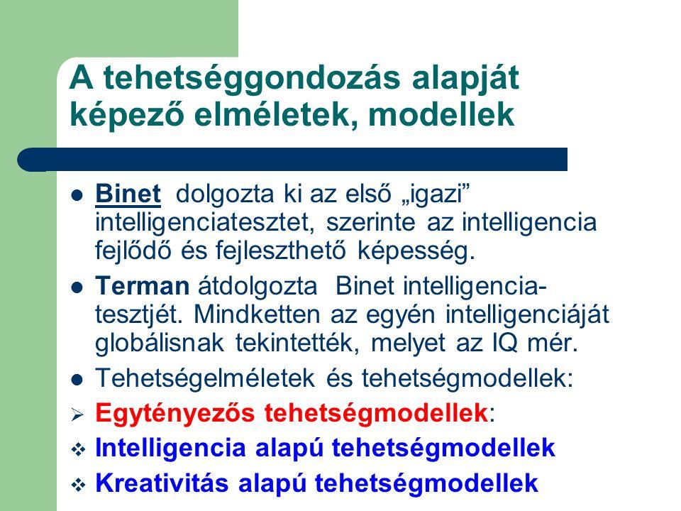 """A tehetséggondozás alapját képező elméletek, modellek Binet dolgozta ki az első """"igazi intelligenciatesztet, szerinte az intelligencia fejlődő és fejleszthető képesség."""