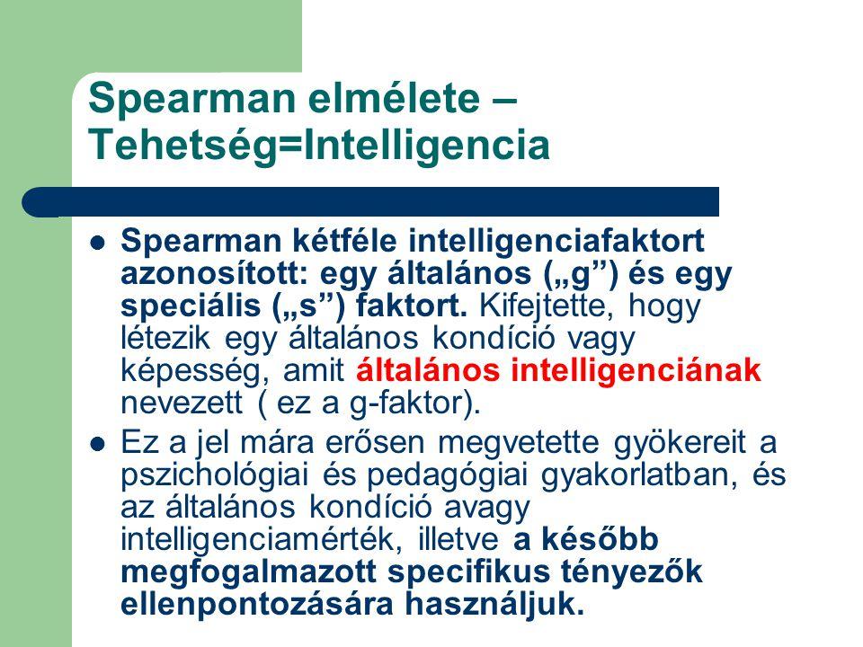"""Spearman elmélete – Tehetség=Intelligencia Spearman kétféle intelligenciafaktort azonosított: egy általános (""""g"""") és egy speciális (""""s"""") faktort. Kife"""