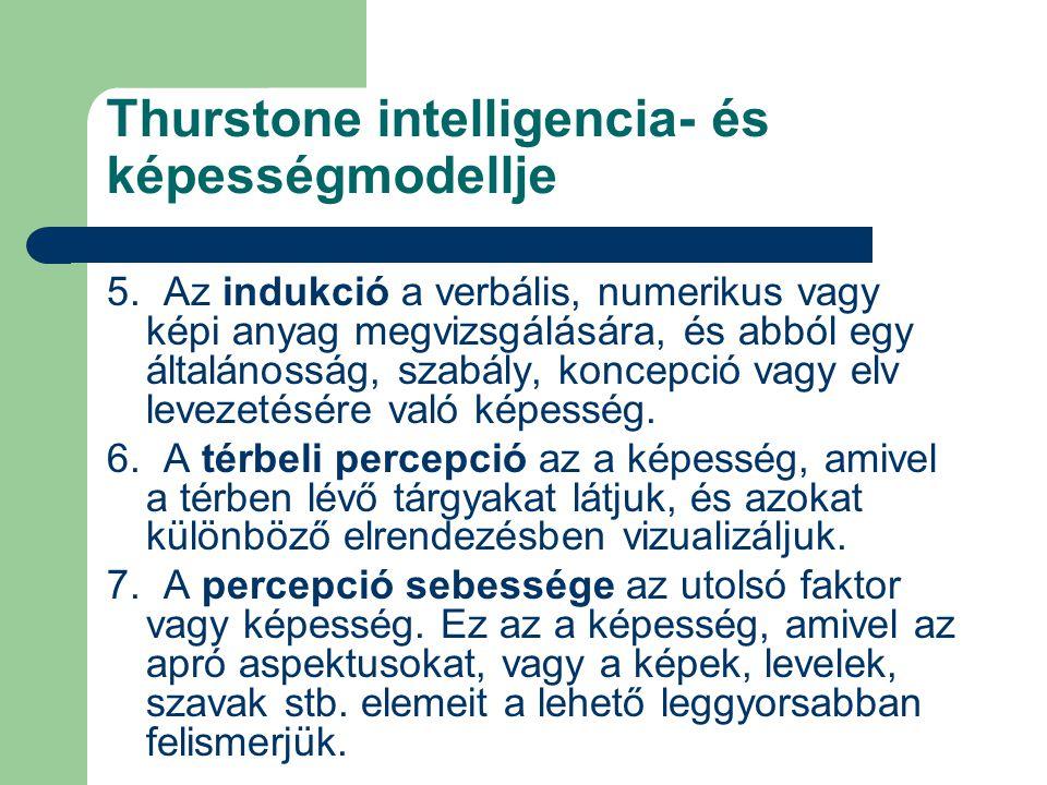 Thurstone intelligencia- és képességmodellje 5. Az indukció a verbális, numerikus vagy képi anyag megvizsgálására, és abból egy általánosság, szabály,