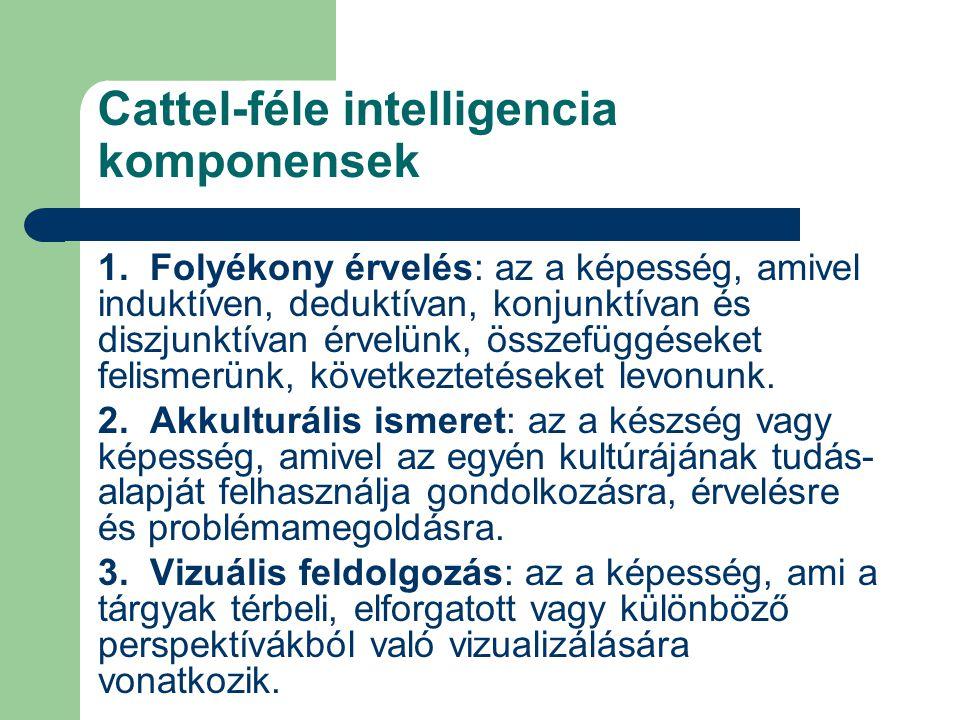 Cattel-féle intelligencia komponensek 1. Folyékony érvelés: az a képesség, amivel induktíven, deduktívan, konjunktívan és diszjunktívan érvelünk, össz