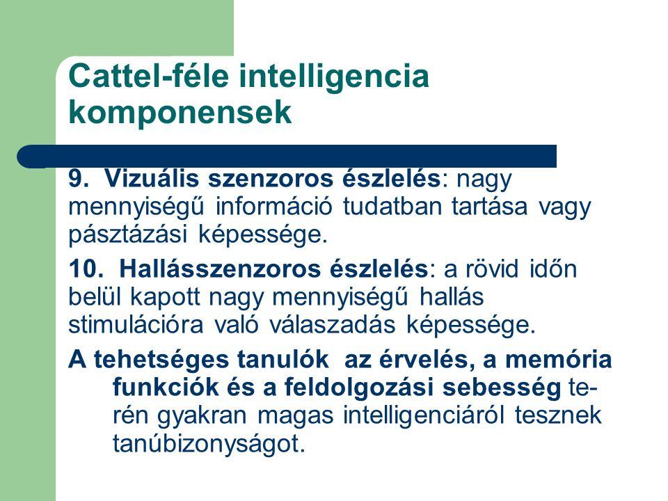 Cattel-féle intelligencia komponensek 9. Vizuális szenzoros észlelés: nagy mennyiségű információ tudatban tartása vagy pásztázási képessége. 10. Hallá