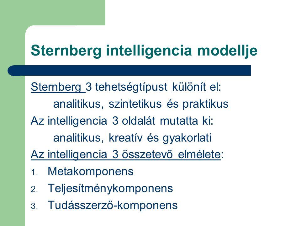 Sternberg intelligencia modellje Sternberg 3 tehetségtípust különít el: analitikus, szintetikus és praktikus Az intelligencia 3 oldalát mutatta ki: analitikus, kreatív és gyakorlati Az intelligencia 3 összetevő elmélete: 1.