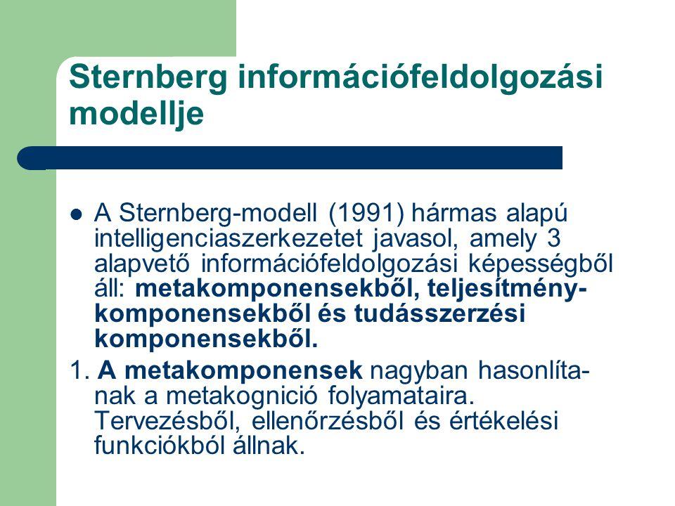 Sternberg információfeldolgozási modellje A Sternberg-modell (1991) hármas alapú intelligenciaszerkezetet javasol, amely 3 alapvető információfeldolgozási képességből áll: metakomponensekből, teljesítmény- komponensekből és tudásszerzési komponensekből.