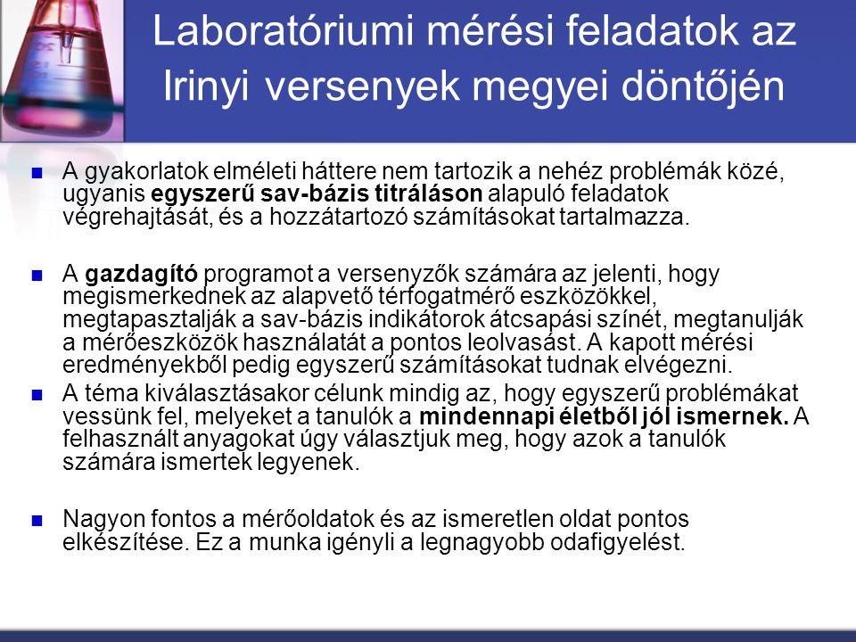 Laboratóriumi mérési feladatok az Irinyi versenyek megyei döntőjén A gyakorlatok elméleti háttere nem tartozik a nehéz problémák közé, ugyanis egyszer