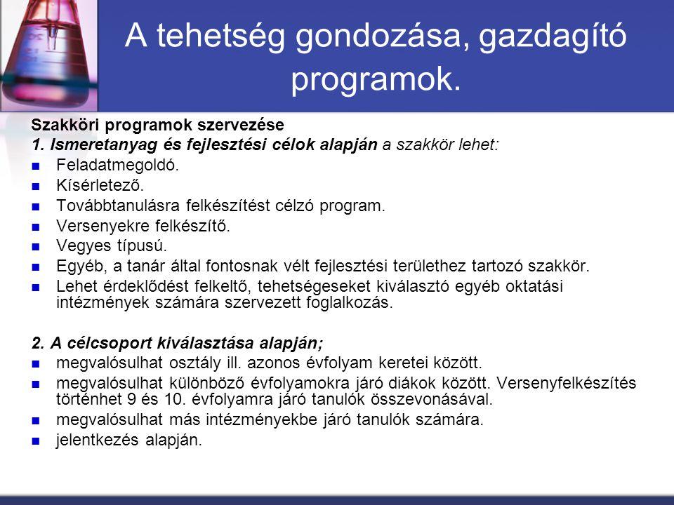 A tehetség gondozása, gazdagító programok. Szakköri programok szervezése 1. Ismeretanyag és fejlesztési célok alapján a szakkör lehet: Feladatmegoldó.