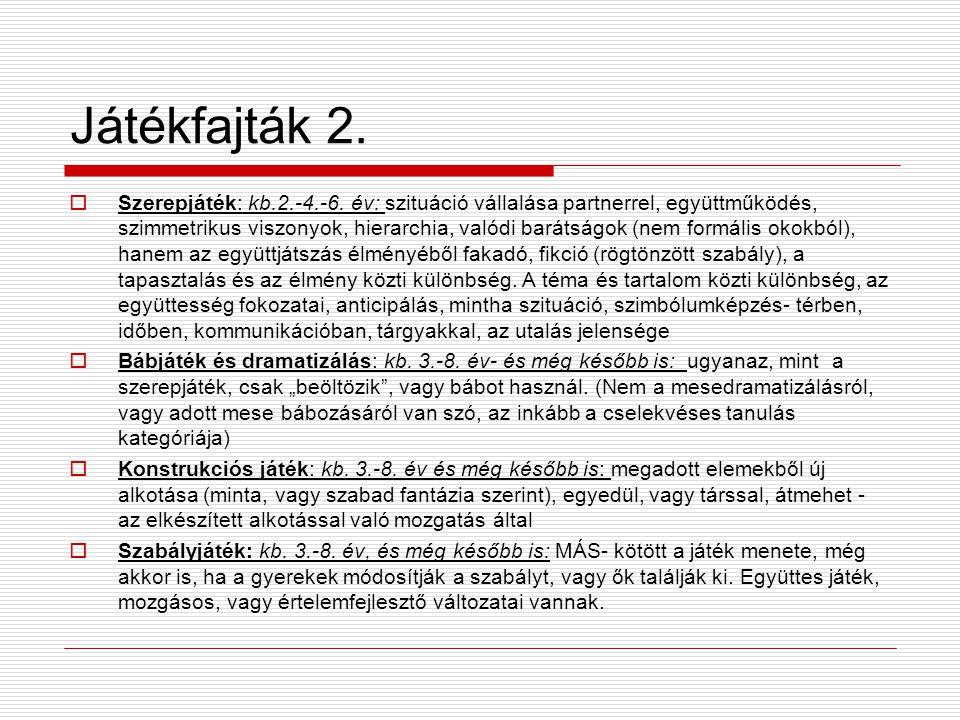 Játékfajták 2. Szerepjáték: kb.2.-4.-6.