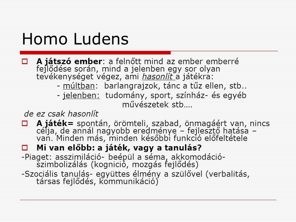 Homo Ludens  A játszó ember: a felnőtt mind az ember emberré fejlődése során, mind a jelenben egy sor olyan tevékenységet végez, ami hasonlít a játékra: - múltban: barlangrajzok, tánc a tűz ellen, stb..