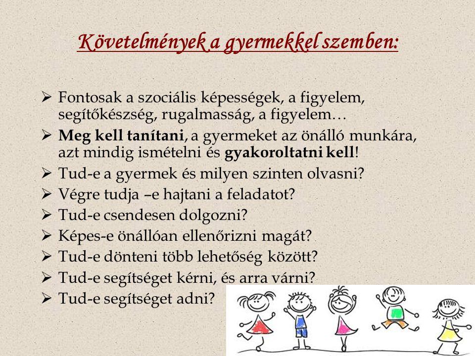 Követelmények a gyermekkel szemben:  Fontosak a szociális képességek, a figyelem, segítőkészség, rugalmasság, a figyelem…  Meg kell tanítani, a gyermeket az önálló munkára, azt mindig ismételni és gyakoroltatni kell .