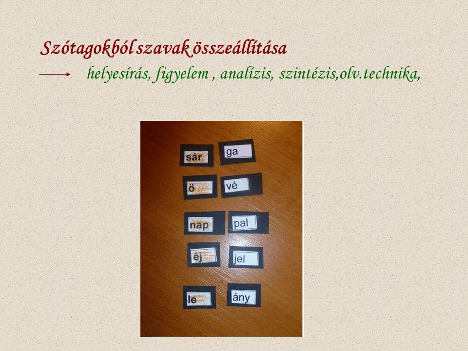Szótagokból szavak összeállítása helyesírás, figyelem, analízis, szintézis,olv.technika,