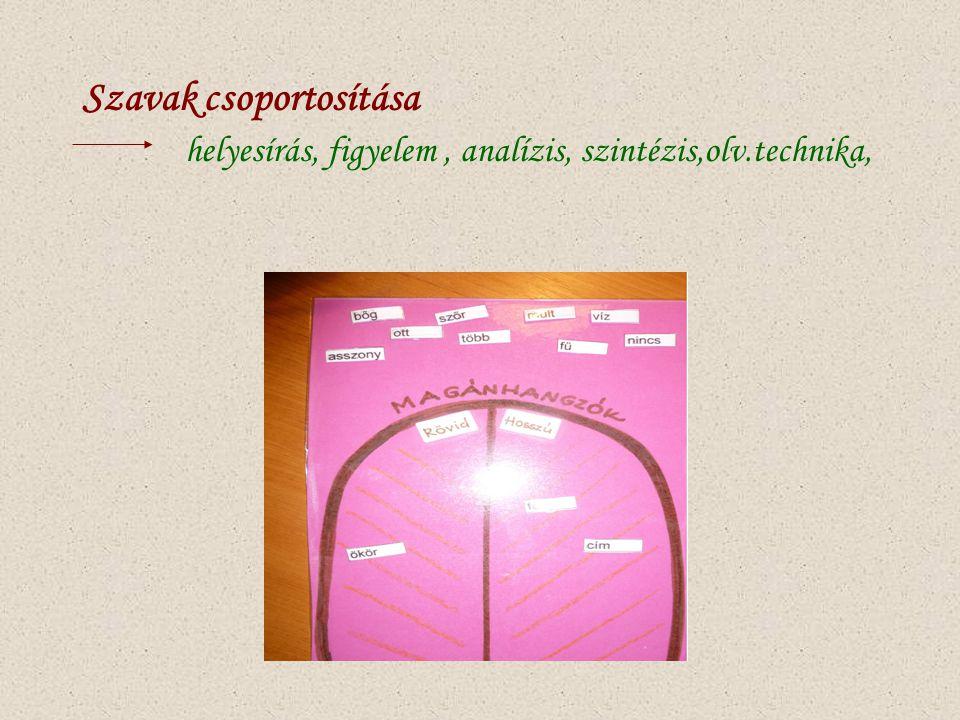 Szavak csoportosítása helyesírás, figyelem, analízis, szintézis,olv.technika,