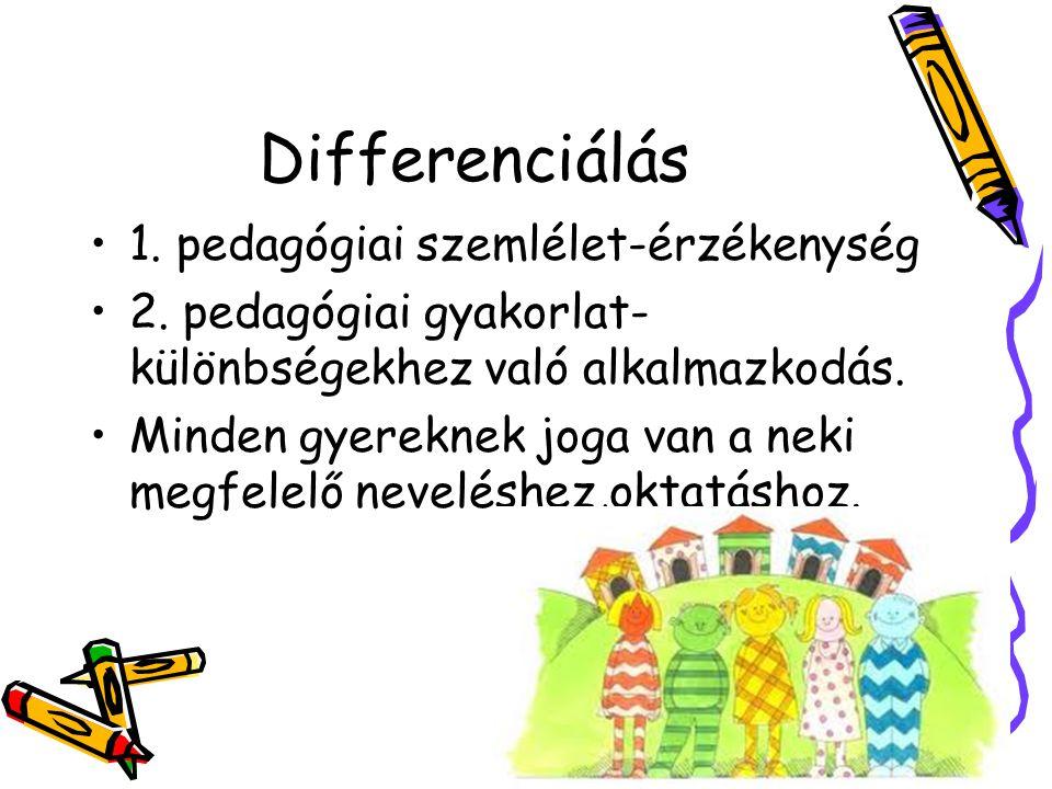 Differenciálás 1. pedagógiai szemlélet-érzékenység 2. pedagógiai gyakorlat- különbségekhez való alkalmazkodás. Minden gyereknek joga van a neki megfel