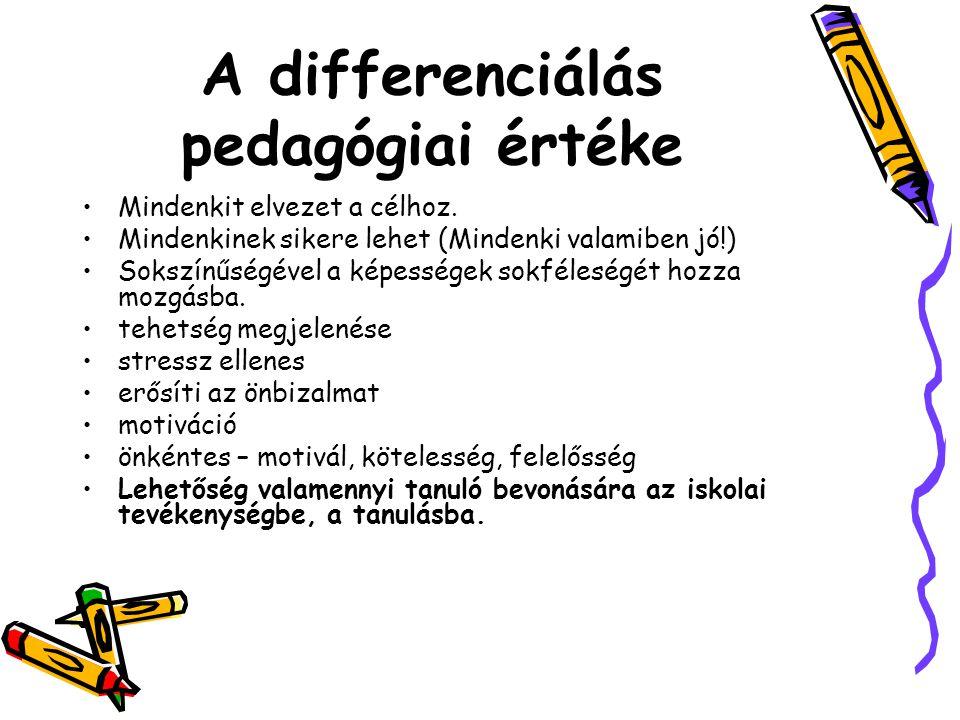 A differenciálás pedagógiai értéke Mindenkit elvezet a célhoz. Mindenkinek sikere lehet (Mindenki valamiben jó!) Sokszínűségével a képességek sokféles