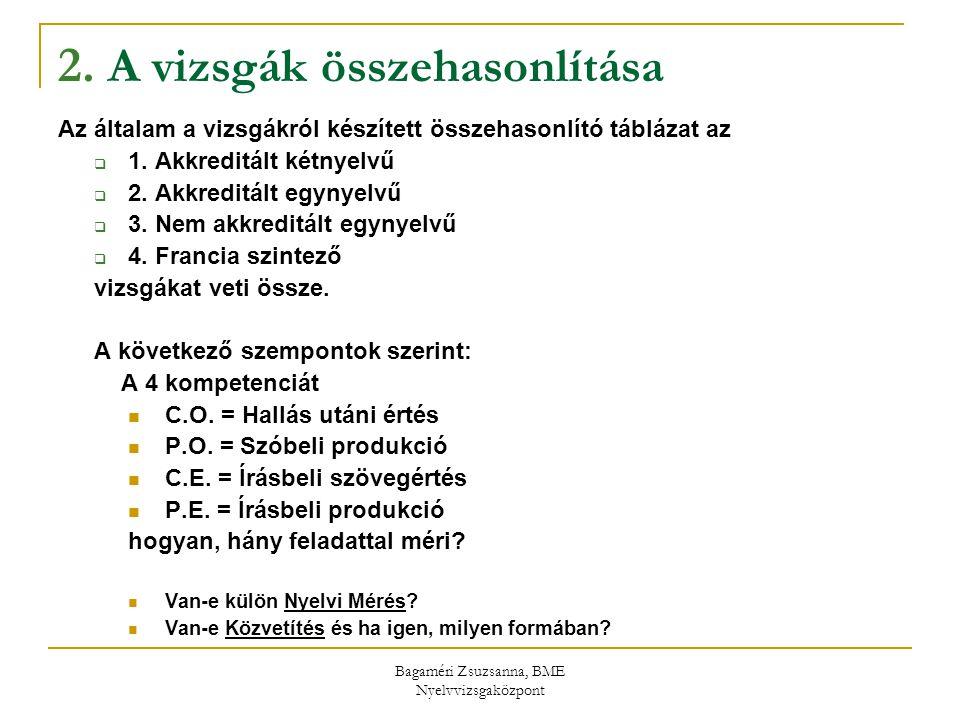 Bagaméri Zsuzsanna, BME Nyelvvizsgaközpont 2. A vizsgák összehasonlítása Az általam a vizsgákról készített összehasonlító táblázat az  1. Akkreditált