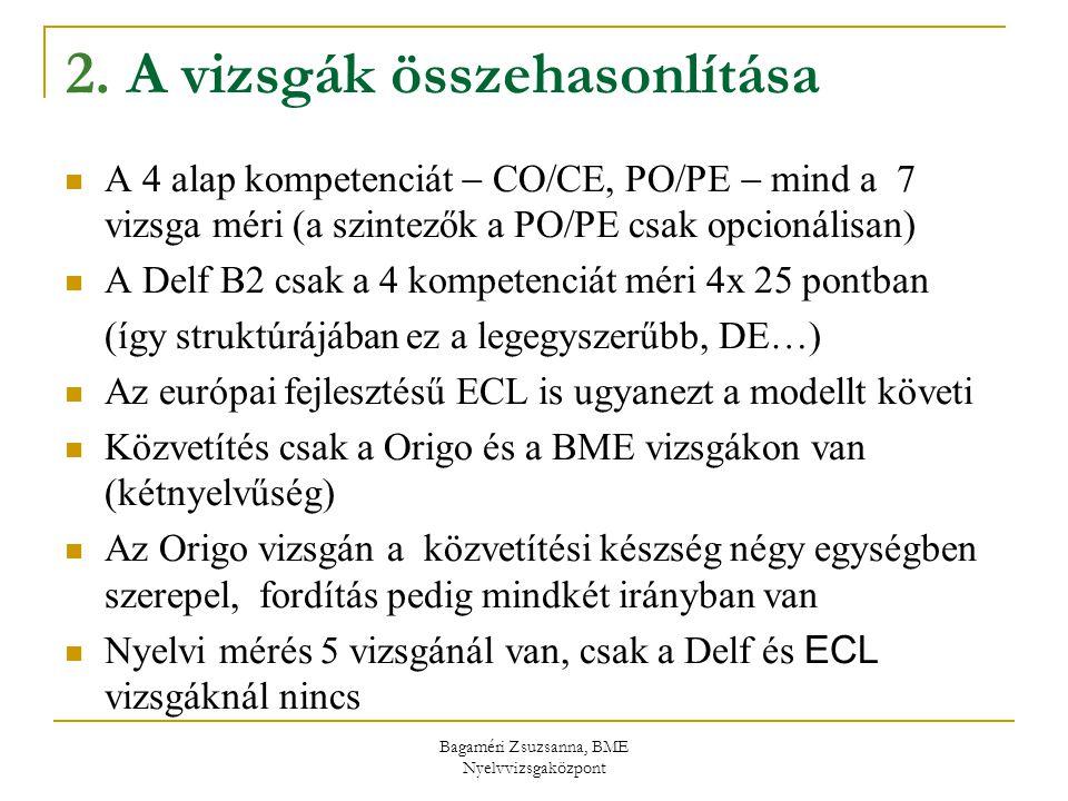 Bagaméri Zsuzsanna, BME Nyelvvizsgaközpont 2. A vizsgák összehasonlítása A 4 alap kompetenciát  CO/CE, PO/PE  mind a 7 vizsga méri (a szintezők a PO