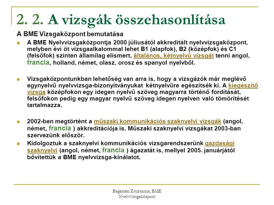Bagaméri Zsuzsanna, BME Nyelvvizsgaközpont 2. 2. A vizsgák összehasonlítása A BME Vizsgaközpont bemutatása A BME Nyelvvizsgaközpontja 2000 júliusától