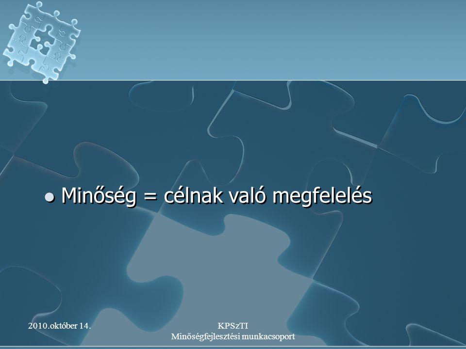 2010.október 14.KPSzTI Minőségfejlesztési munkacsoport Intézményi önértékelés Az IMIP - ben rögzített eljárás szerint Az önértékelés területeinek pontosítása A számszerűsítés áttekintése Adatgyűjtés Az adatok elemzése Visszajelzés Összehasonlítás az előző mérési adatokkal Az IMIP - ben rögzített eljárás szerint Az önértékelés területeinek pontosítása A számszerűsítés áttekintése Adatgyűjtés Az adatok elemzése Visszajelzés Összehasonlítás az előző mérési adatokkal