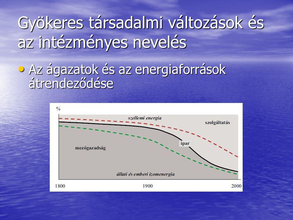 Gyökeres társadalmi változások és az intézményes nevelés Az ágazatok és az energiaforrások átrendeződése Az ágazatok és az energiaforrások átrendeződé