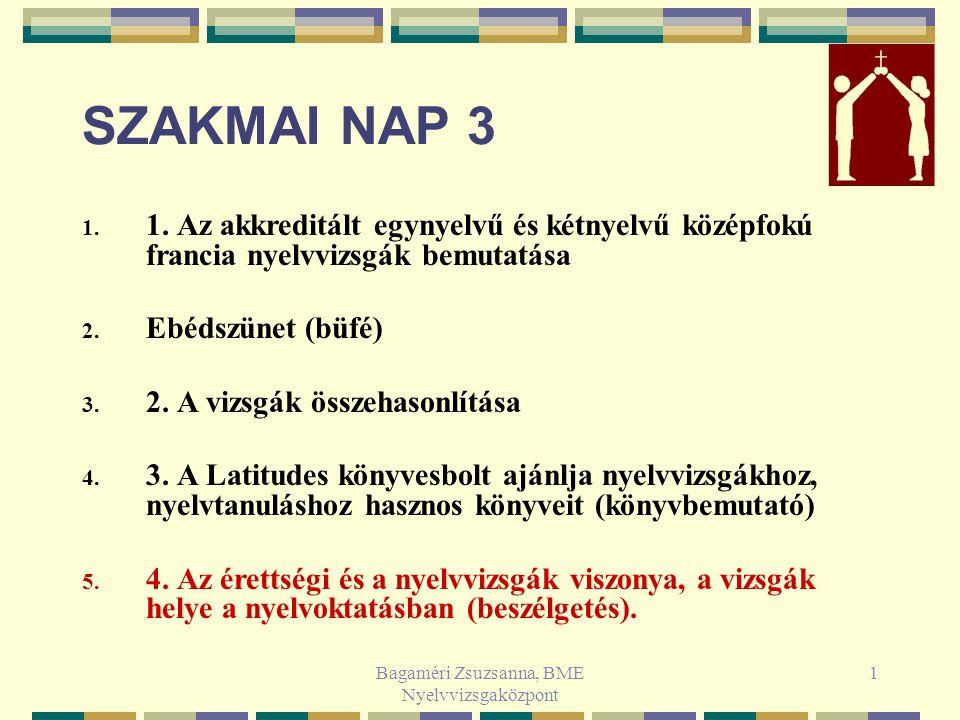 Bagaméri Zsuzsanna, BME Nyelvvizsgaközpont 1 SZAKMAI NAP 3 1.