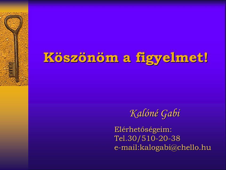 Kalóné Gabi Elérhetőségeim:Tel.30/510-20-38e-mail:kalogabi@chello.hu Köszönöm a figyelmet!