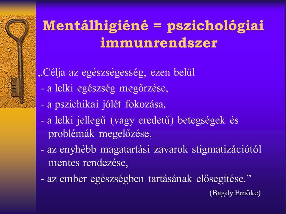 """Mentálhigiéné = pszichológiai immunrendszer """"Célja az egészségesség, ezen belül - a lelki egészség megőrzése, - a pszichikai jólét fokozása, - a lelki"""