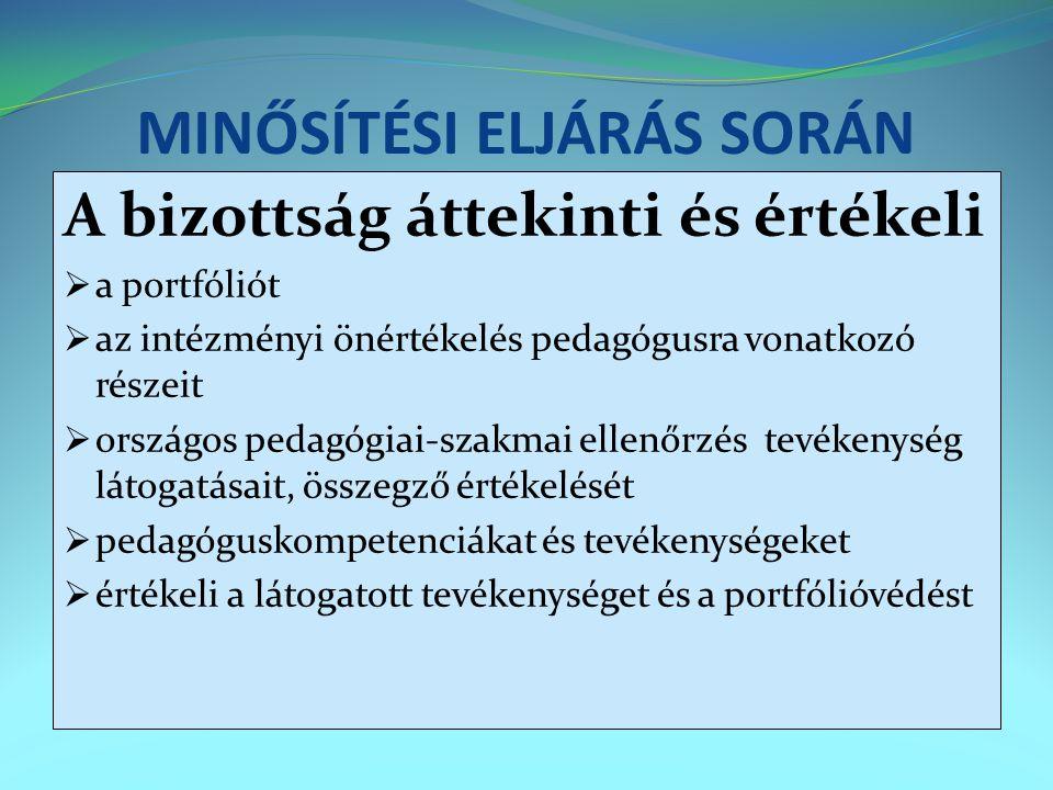 MINŐSÍTÉSI ELJÁRÁS SORÁN A bizottság áttekinti és értékeli  a portfóliót  az intézményi önértékelés pedagógusra vonatkozó részeit  országos pedagóg