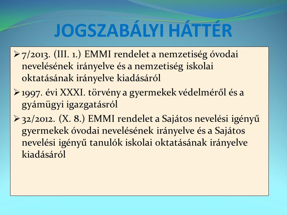 JOGSZABÁLYI HÁTTÉR  7/2013. (III. 1.) EMMI rendelet a nemzetiség óvodai nevelésének irányelve és a nemzetiség iskolai oktatásának irányelve kiadásáró