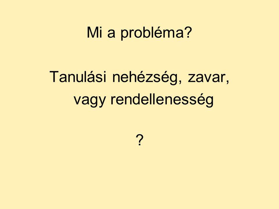 Mi a probléma? Tanulási nehézség, zavar, vagy rendellenesség ?