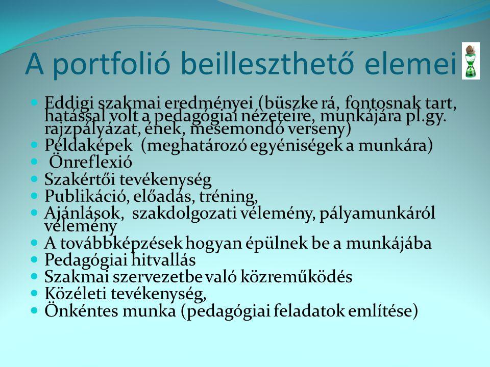 A portfolió beilleszthető elemei Eddigi szakmai eredményei (büszke rá, fontosnak tart, hatással volt a pedagógiai nézeteire, munkájára pl.gy. rajzpály