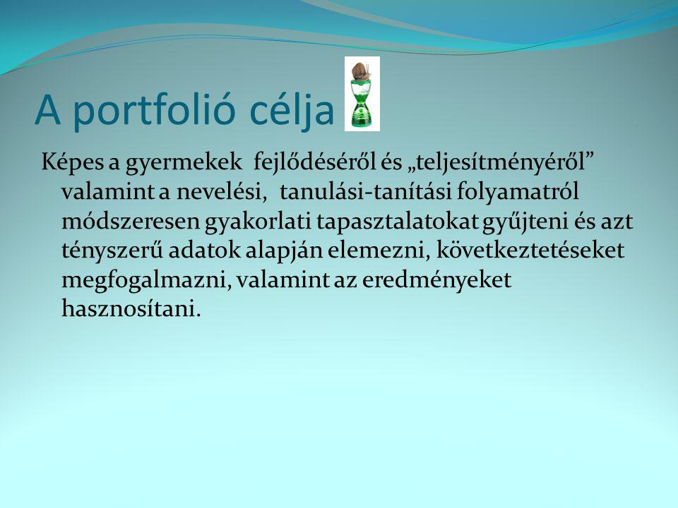 A portfolió kötelező elemei Címlap (név, intézmény, embléma, dátum) Tartalomjegyzék (kötelező és fontosnak tartott elemek) Önéletrajz (europass szabvány) Diplomák (másolata) Elvégzett továbbképzések, tanfolyamok listája, tanúsítványok, diplomák Pedagógus-értékelések, minősítések (vezető, mk.
