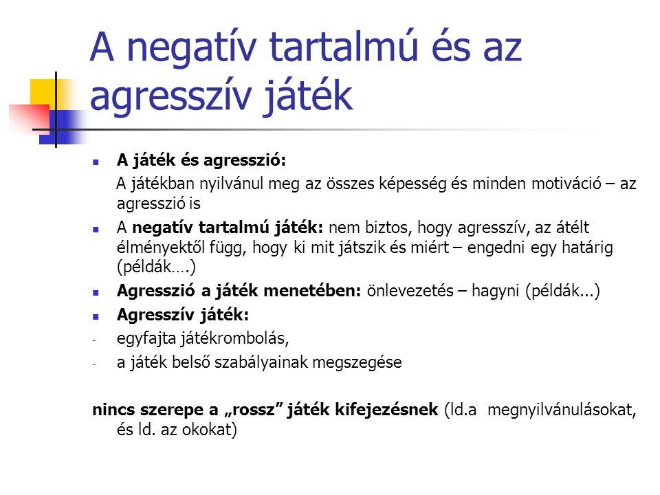 """A negatív tartalmú és az agresszív játék A játék és agresszió: A játékban nyilvánul meg az összes képesség és minden motiváció – az agresszió is A negatív tartalmú játék: nem biztos, hogy agresszív, az átélt élményektől függ, hogy ki mit játszik és miért – engedni egy határig (példák….) Agresszió a játék menetében: önlevezetés – hagyni (példák...) Agresszív játék: - egyfajta játékrombolás, - a játék belső szabályainak megszegése nincs szerepe a """"rossz játék kifejezésnek (ld.a megnyilvánulásokat, és ld."""
