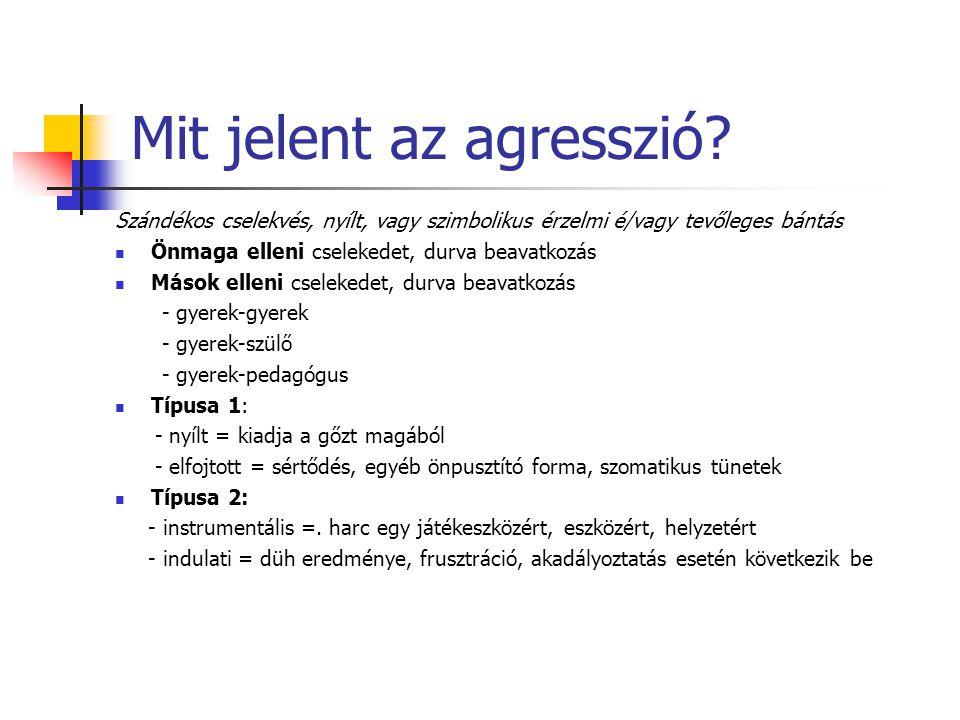 Milyen az agresszió.1. Konkrét megnyilvánulások: - fizikai:csipkedés, rúgás, stb….