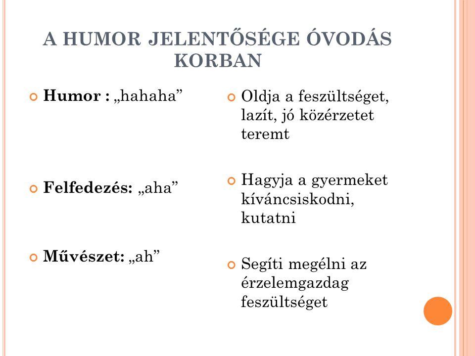 """A HUMOR JELENTŐSÉGE ÓVODÁS KORBAN Humor : """"hahaha"""" Felfedezés: """"aha"""" Művészet: """"ah"""" Oldja a feszültséget, lazít, jó közérzetet teremt Hagyja a gyermek"""