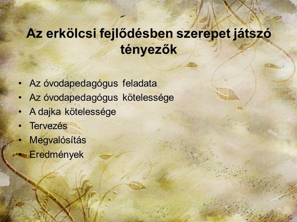 2013. november 15.HTK Labáth Ferencné11 Az erkölcsi fejlődésben szerepet játszó tényezők Az Óvodai nevelés országos alapprogramja Segítőkészség Együtt