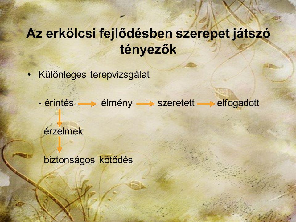 2013. november 15.HTK Labáth Ferencné8 Az erkölcsi fejlődésben szerepet játszó tényezők Kutatás - Az érintés ereje - fejlődés - befogadó kapacitás - i
