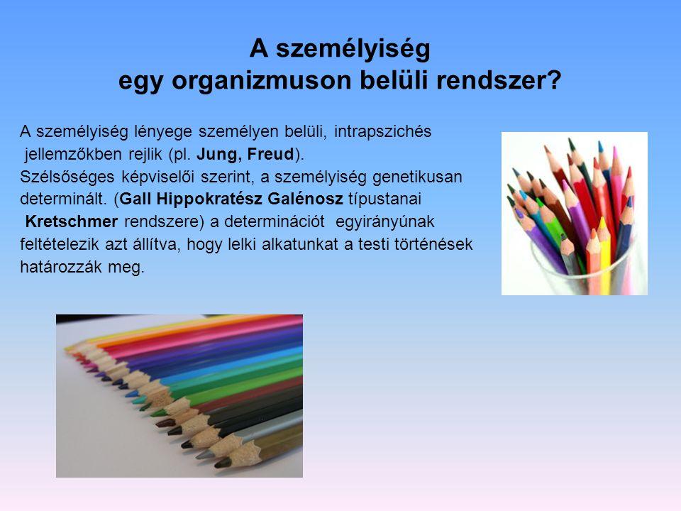…avagy a személy és környezet közös rendszerbe szerveződve alkotja a személyiséget.
