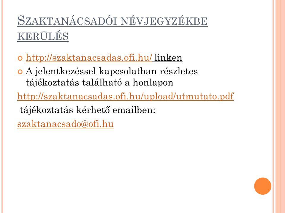 S ZAKTANÁCSADÓI NÉVJEGYZÉKBE KERÜLÉS http://szaktanacsadas.ofi.hu/http://szaktanacsadas.ofi.hu/ linken A jelentkezéssel kapcsolatban részletes tájékoztatás található a honlapon http://szaktanacsadas.ofi.hu/upload/utmutato.pdf tájékoztatás kérhető emailben: szaktanacsado@ofi.hu