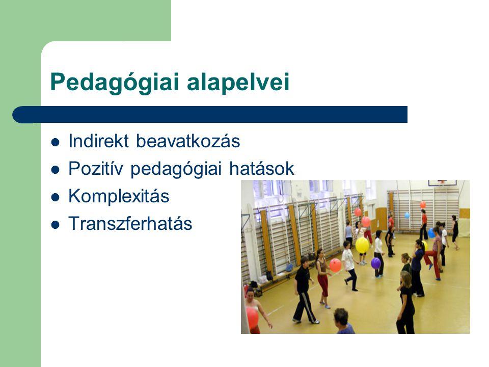 Pedagógiai alapelvei Indirekt beavatkozás Pozitív pedagógiai hatások Komplexitás Transzferhatás
