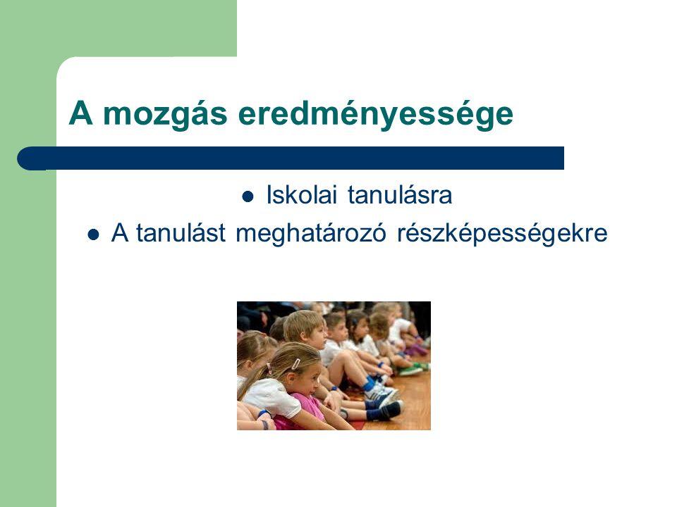 A mozgás eredményessége Iskolai tanulásra A tanulást meghatározó részképességekre