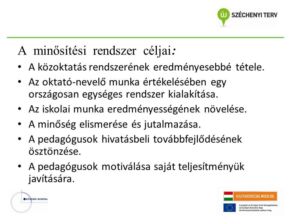 A minősítési rendszer céljai : A közoktatás rendszerének eredményesebbé tétele. Az oktató-nevelő munka értékelésében egy országosan egységes rendszer