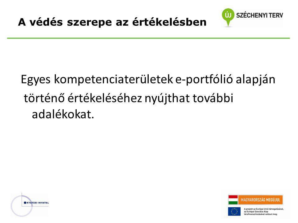 Egyes kompetenciaterületek e-portfólió alapján történő értékeléséhez nyújthat további adalékokat. A védés szerepe az értékelésben