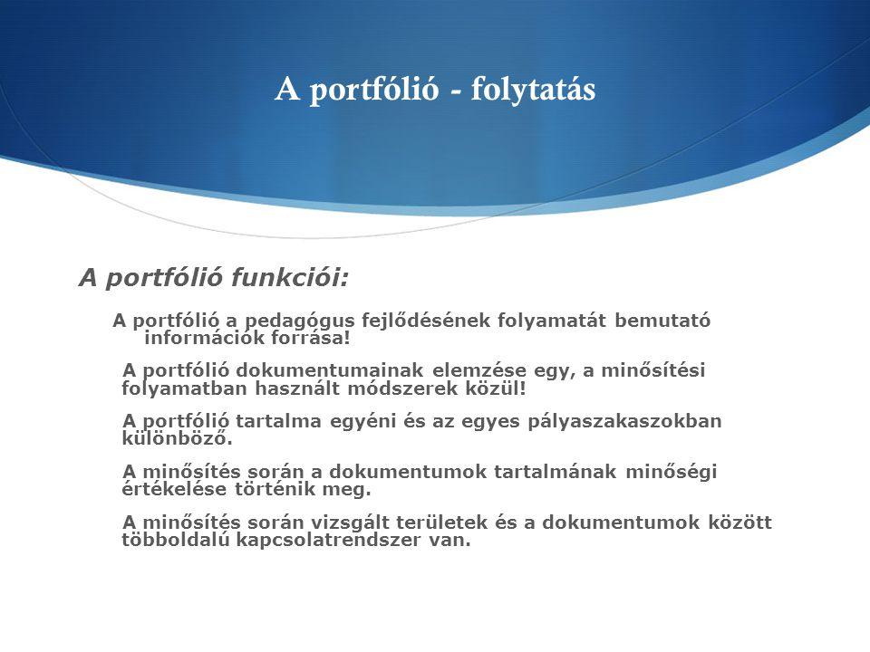 A portfólió struktúrája, javasolt tartalmi elemei - Szakmai önéletrajz  - Nevel ő -oktató munka dokumentumai  - A pedagógiai munkát befolyásoló szakmai és egyéb közéleti tevékenységek bemutatása/ dokumentumai  - Önálló m ű vészeti/alkotói tevékenységek bemutatása/dokumentumai  - Az intézmény rövid bemutatása  - A szakmai életút értékelése  Küls ő szakemberek értékelése 