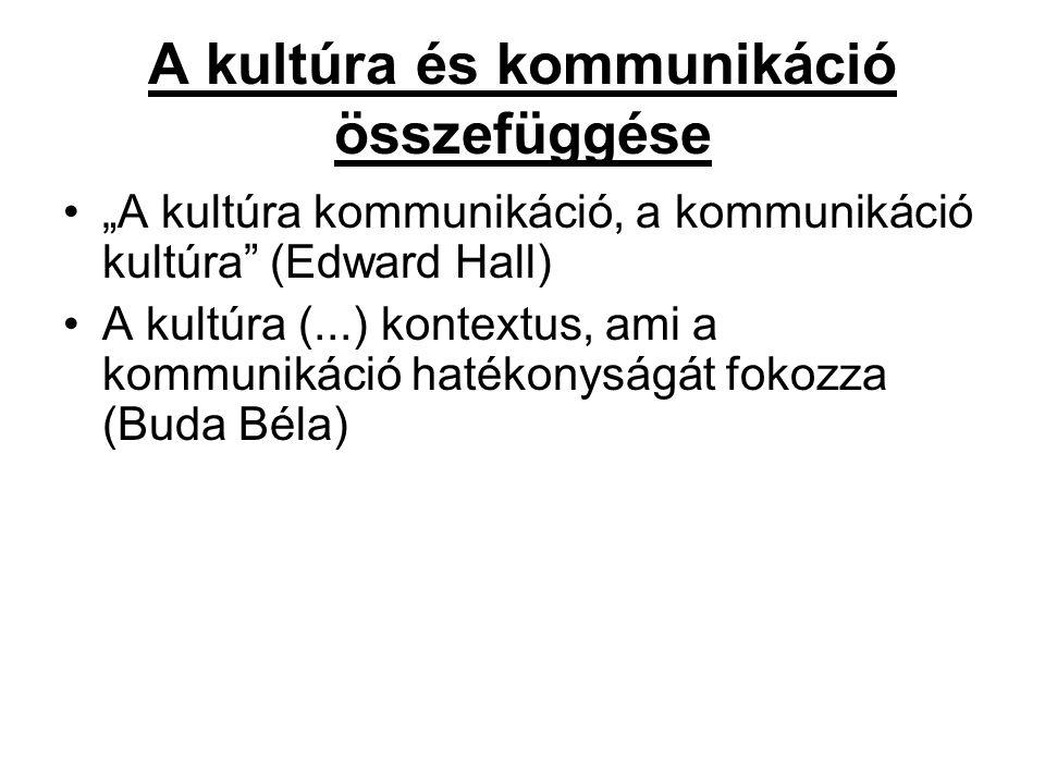 """A kultúra és kommunikáció összefüggése """"A kultúra kommunikáció, a kommunikáció kultúra (Edward Hall) A kultúra (...) kontextus, ami a kommunikáció hatékonyságát fokozza (Buda Béla)"""