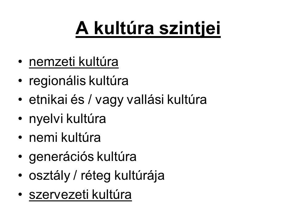 A kultúra szintjei nemzeti kultúra regionális kultúra etnikai és / vagy vallási kultúra nyelvi kultúra nemi kultúra generációs kultúra osztály / réteg kultúrája szervezeti kultúra